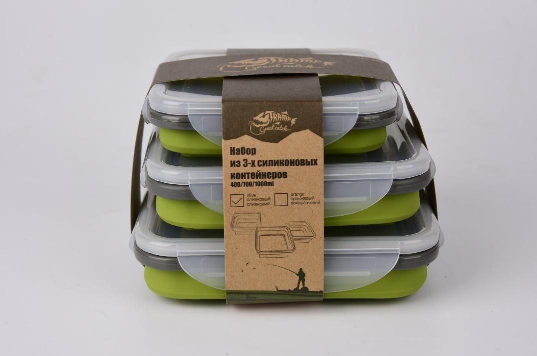 Набір з 3х силіконових контейнерів Tramp (400/700 / 1000ml) olive