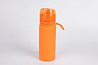 Бутылка Tramp силиконовая 500мл. Фляга спортивная. Сложная силиконовая бутылка с карабином, фото 2