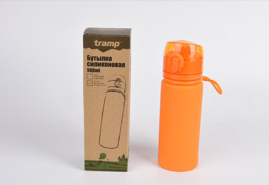 Бутылка Tramp силиконовая 500мл. Фляга спортивная. Сложная силиконовая бутылка с карабином