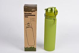 Пляшка силіконова Tramp 700ml olive. Фляга туристическая. Складная силиконовая бутылка с карабином