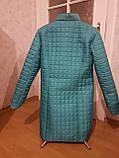 Плащ жіночий стьобаний бірюзовий, батальний, фото 4