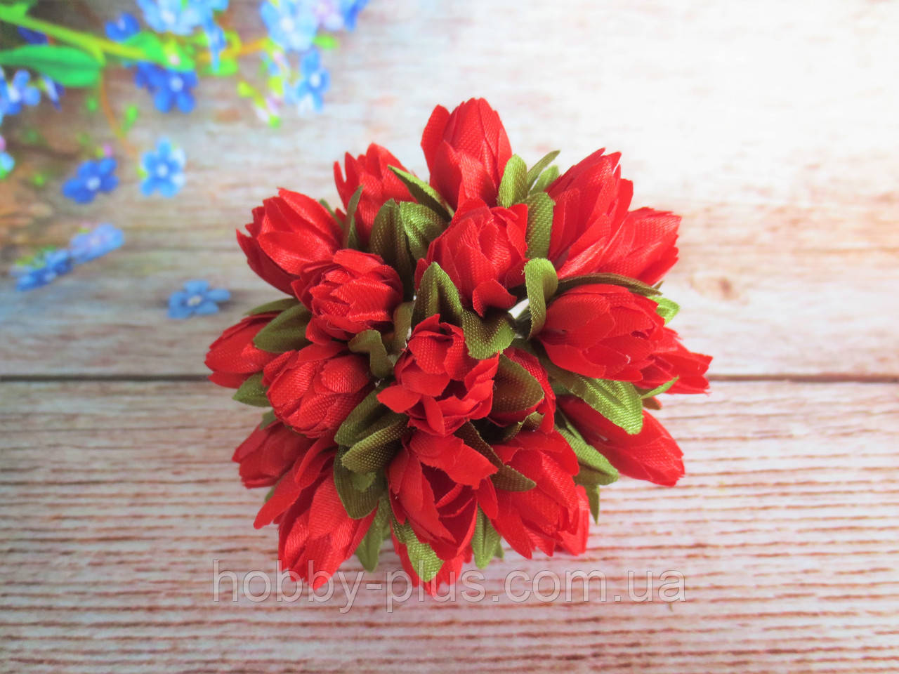 Тюльпан на проволочке, d 1 см, красного цвета, 1 шт