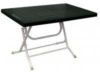 Скдадной пластиковый стол кокнар с металлическими ножками  темно-зеленый