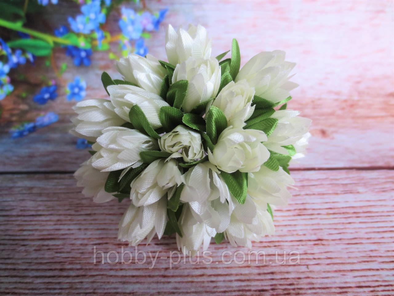 Тюльпан на проволочке, d 1 см, кремового цвета, 1 шт