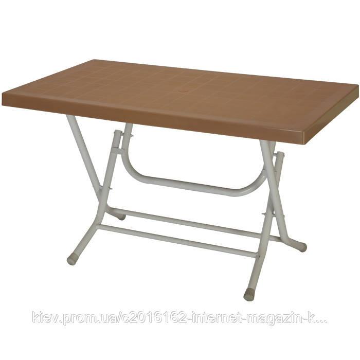 Пластиковый складной стол для кафе кокнар с металлическими ножками коричневий