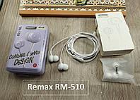 Оригинальная гарнитура (наушники) Remax RM-510 белая (с микрофоном и кнопкой ответа)