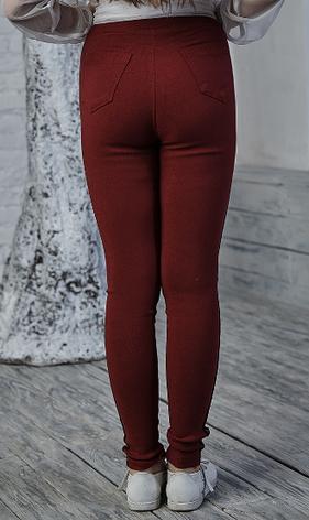 Лосины детские качественные джинсовые в бордовом цвете, фото 2