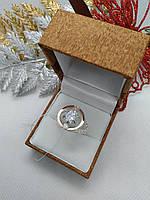 """Кольцо серебряное с золотыми пластинами """"Шанель"""""""