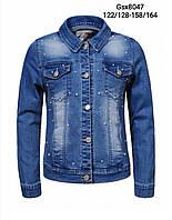 Джинсовая куртка для девочек оптом, Glo-story, 122/128-158/164 рр., арт. GSX-8047