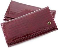 Женский лаковый кошелек бордового цвета на кнопке ST Leather