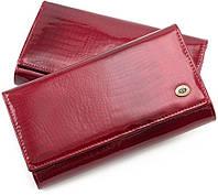 Лаковый красный кошелек с фиксацией на кнопку ST Leather