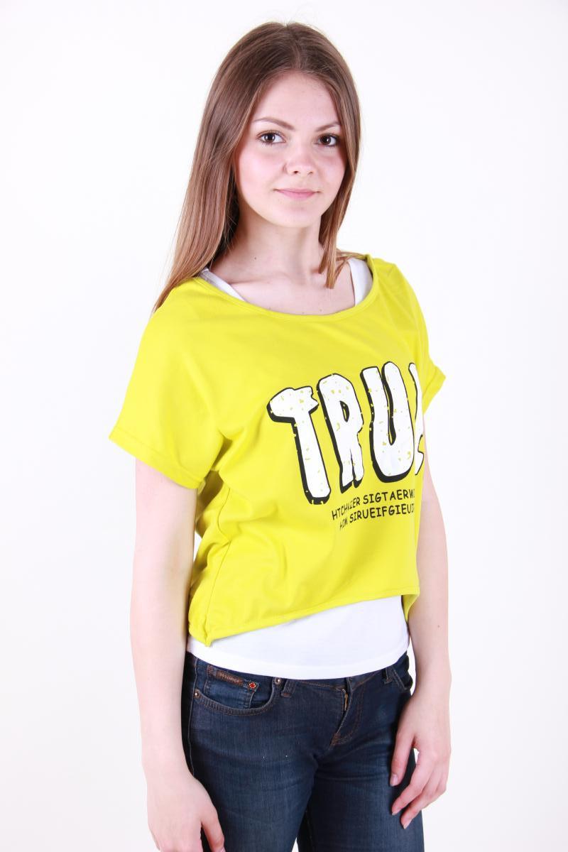 Молодіжна літня футболка двійка з написом в кольорах