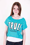 Молодіжна літня футболка двійка з написом в кольорах, фото 3