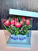 """Букет 19 тюльпанов в коробке """"Пушистые тюльпаны"""", фото 1"""