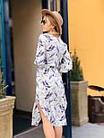 Женское стильное платье-рубашка с цветочным принтом, фото 2