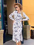 Женское стильное платье-рубашка с цветочным принтом, фото 3
