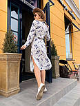 Женское стильное платье-рубашка с цветочным принтом, фото 4