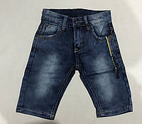 Джинсовыешортыстильные детскиедля мальчика от 1 до 5 лет потертые,синего цвета, фото 1