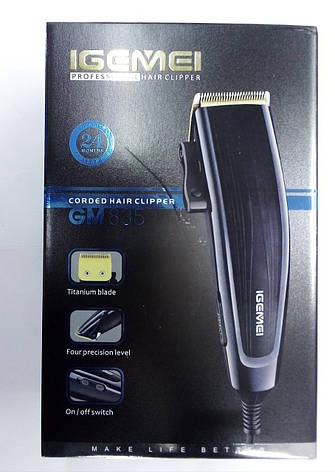 Профессиональная машинка для стрижки волос Gemei GM835 с титановым ножом , фото 2