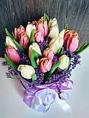 Букет 19 тюльпанов в коробке