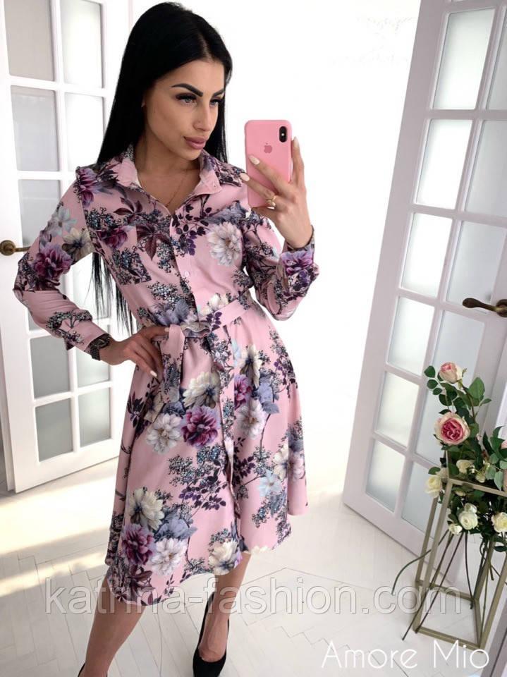 Женское красивое платье-рубашка с цветочным принтом