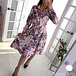 Женское красивое платье-рубашка с цветочным принтом, фото 4