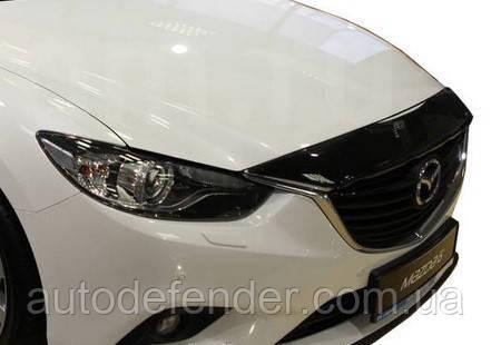 Дефлектор капота (Люкс!) мухобойка Mazda 6 2013-2021, короткий\нижний, SIM, SMAMA61312