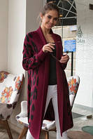 Модный кардиган женский вязаный с застежкой на брошь и принтом леопард 42-52