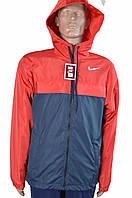 Мужская куртка,ветровка NIKE на флисе с капюшоном размер 44,46,48,50 синяя с красно