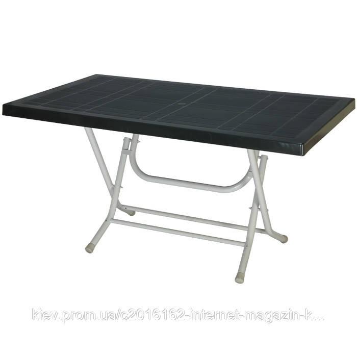 Стол для пикника большой сельви с металлическими ножками темно-зеленый