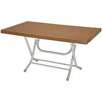 Пластиковый стол для пикника раскладной большой сельви с металлическими ножками кориневий