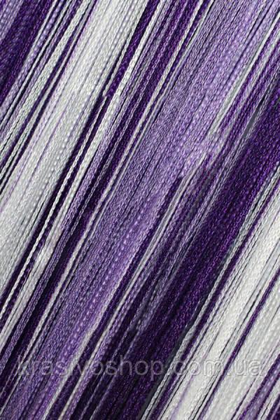 Шторы нити Радуга вертикальная Белый, Сиреневый, Фиолетовый