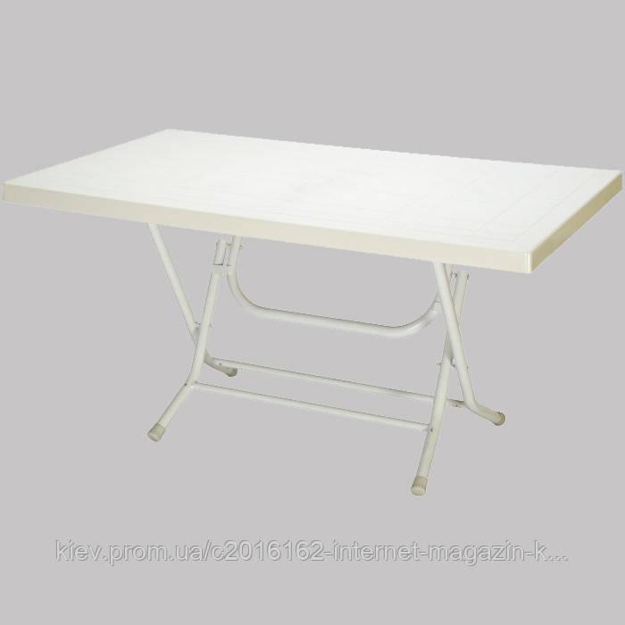 Стол для дачи раскладной большой сельви с металлическими ножками белый