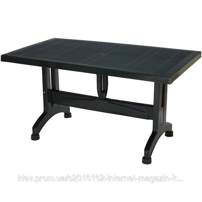 Пластиковый стол барный сельви с пластиковым ножками темно-зеленый