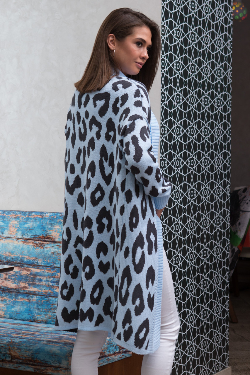 модный кардиган женский вязаный с застежкой на брошь и принтом леопард 42 52