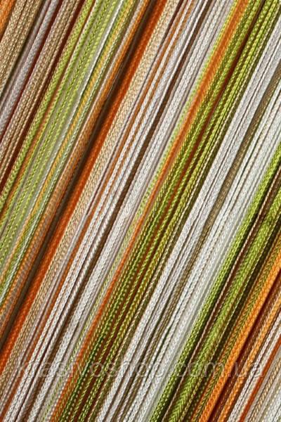 Шторы нити Радуга вертикальная оранжевый+бежевый+оливковый+молочный