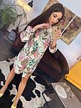 Женское красивое платье-рубашка из штапеля с цветочным принтом (3 цвета), фото 2