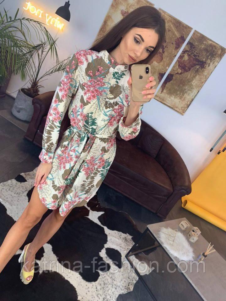 Женское красивое платье-рубашка из штапеля с цветочным принтом (3 цвета)