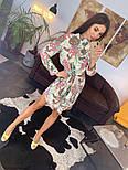 Женское красивое платье-рубашка из штапеля с цветочным принтом (3 цвета), фото 3