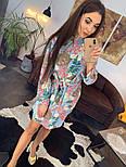 Женское красивое платье-рубашка из штапеля с цветочным принтом (3 цвета), фото 7