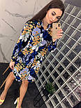 Женское красивое платье-рубашка из штапеля с цветочным принтом (3 цвета), фото 8