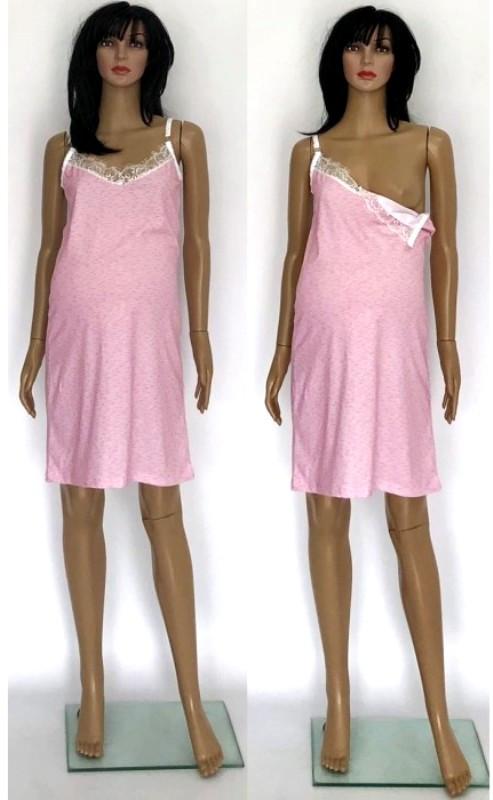 Розовая ночная рубашка для беременных и кормящих с кружевом 44-54 р