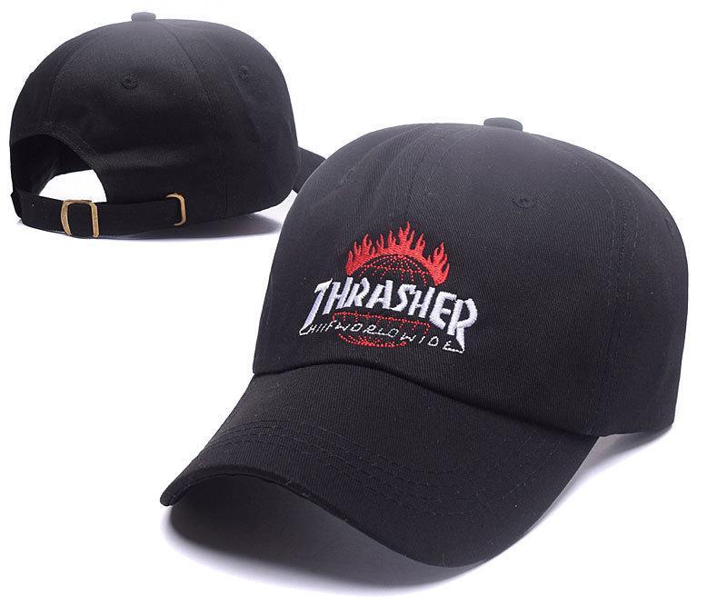 Чёрная кепка бейсболка Thrasher worldwide (трешер) мужская женская
