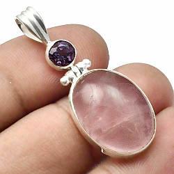 Кулон из серебра с розовым кварцем, 24*16 мм., серебро 925, 452ПР