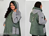 Куртка комбинированная большого размера, с 46-56 размер, фото 1