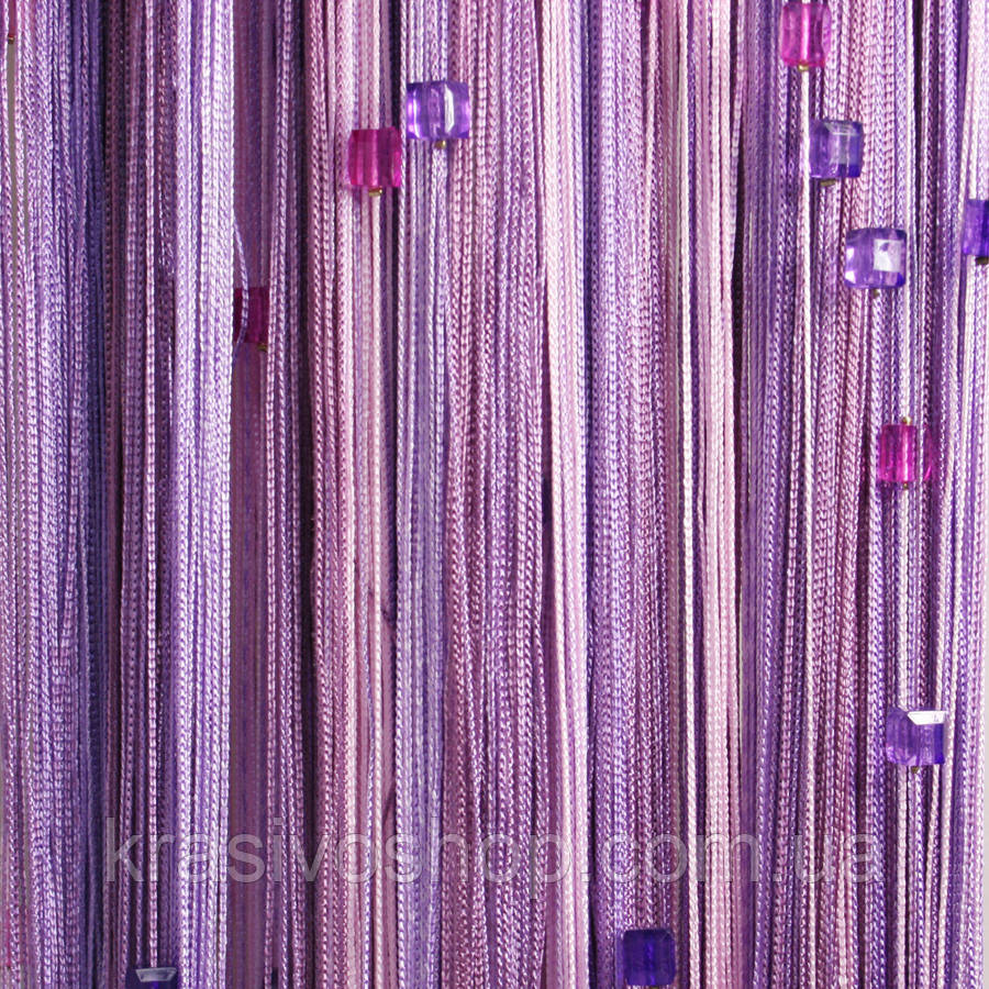 Штори нитки Веселка зі стеклярусом рожевий+білий+сливовий