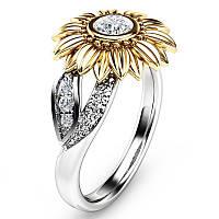 Винтаж Zircon Inlaid Gold Sunflower Hollow Лист Подарок для платинового кольца для нее - 1TopShop