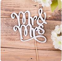 """Топпер дерев'яний на паличці """"Mr and Mrs"""""""