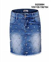 Юбка джинсовая для девочек оптом, Glo-story, 122/128-158/164 см,  № GQZ-8084, фото 1