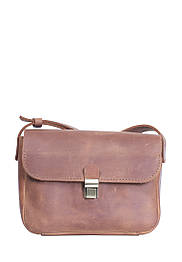 Маленькая кожаная сумочка на плечо Коньяк